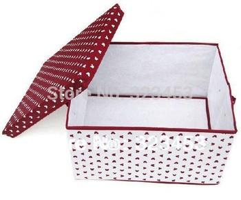 Free Shipping High Quality Burgundy Cute bear Non-woven clothing bin/multi-purpose Storage box Organizer S M L
