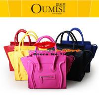 FREE SHIPPING fashion leather messenger bag blue famous brand designer smiley bag brown handbags women leather shoulder bag