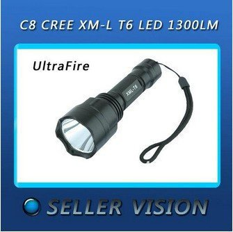 Hot!! Ultrafire C8 1300Lm CREE XM-L T6 LED Torch+Flashlight Remote Pressure Switch Free shipping