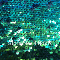 tulle with iridescent 6mm blue allover sequin embroidery dance wear fabric