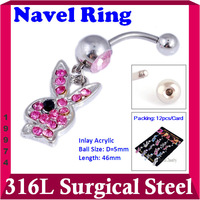 Crystal Rabbit Belly Button Rings Stainless steel Dangle Navel Ring Body Jewellery Dance Piercing Accessories 12pcs/pack 19974