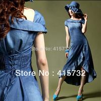 Free Shipping 2014 New Summer Thin Fashion High Quality Plus Size Denim Dress For Women Vintage Asymmetric Jeans Ruffles dresses