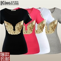 HK Paillette o-neck short-sleeve T-shirt black women's plus size T shirts summer K0001