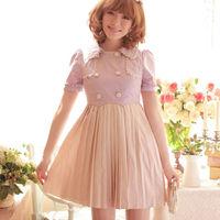 On Sale Dresses New Fashion 2015 Women Girl Princess Cute Dress Purple Spliced Apricot S M Plus Size L21139 Free Shipping
