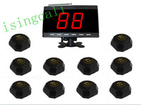 wireless waiter calling system for cinema,pub. 10 pcs  black APE560 bell and 1 pc black APE9000 display panel receiver