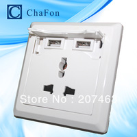2100mA AC110- 250V /10A Universal double USB port wall socket +free DHL,UPS shipping