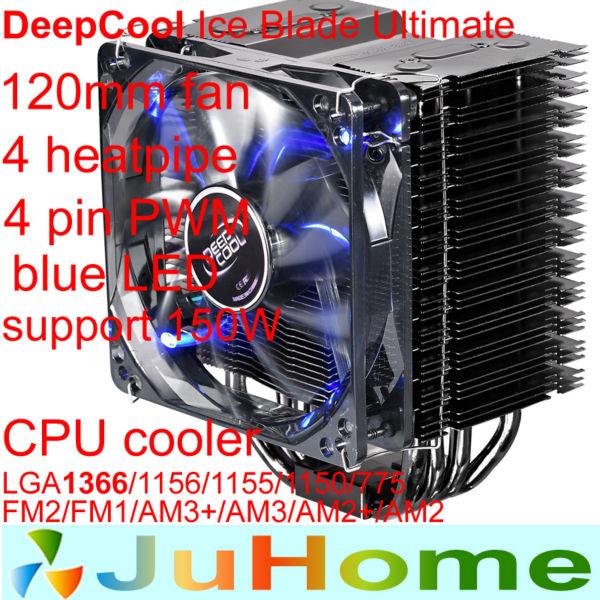 120mm fan 4 heatipe 4pin PWM blue LED LGA 775/1155/1150/1156/1366 FM1/AM3+/AM2+/940/939/754 cpu cooler CPU Fan IceBlade Ultimate(China (Mainland))