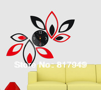 Home decoration!black & red Leaves mirrored wall clock modern design,3d wall watch living room,unique gifts,Free shipping Z067