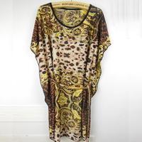 Short Sleeve Novelty Leopard Geometric Dots Stripes Vintage Printed  Plus Size Mini Blouse Dress B8812  Print Bodycon
