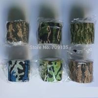10PCS 4.5m length self adhesive elastic camo bandage,  paintball cs war game airsoft hunting shooting camouflage tape