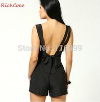 Hot deep v neck chiffon jumpsuits rompers womens jumpsuit macacao feminino e macaquinhos female shorts feminino jumpsuits