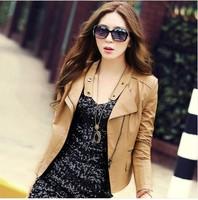 Hot-Selling ! Brand Spring Korean Short  Slim Leather jacket Women , Motorcycle Jacket . Free Shipping 5109