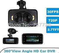 newest 3 lens+View Angle + 4 white light LEDs  +1080p + 720P HD Car DVR 60N