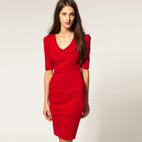 Free Shipping Womens High Fashion Beautiful Peter Pan Collar Cotton Pencil Dress 2013 New Autumn Winter