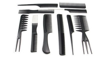 Free shipping 1set/10pcs Salon Barbers Hair Styling Hairdressing hair accessories Plastic Comb Stylist Set Black Tool  010015