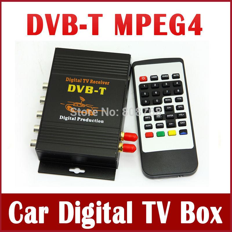 New Car Digital TV Receiver Box DVB DVB-T MPEG4 / MPEG2 High Definition Mobile Digital TV Tuner Receiver Double Antenna(China (Mainland))