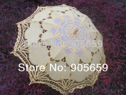 ( 30 pcs/lote) handmade 38'' cor amarela fora- porta sombrinhas de renda casamento(China (Mainland))