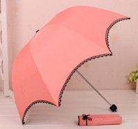 Multifunctional Three-folded Archy Anti-ultraviolet Lace Sun and Rain Folding Umbrella With Six Colors Free Shipping