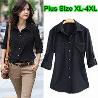 Women Plus Size Black Long Sleeves Pockets Adjustable Sleeve Elegant OL Chiffon Spring Shirts Size XL XXL XXXL 4XL