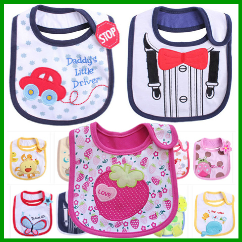 2013 Hot Sale Cotton Baby Bib Infant Saliva Towels Baby Waterproof Bib Cartoon Baby Wear With Different Model free shipping WZ13(China (Mainland))