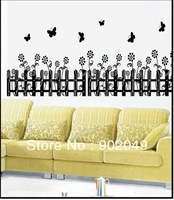 60x90cm Hot sell removable wall stickers gardon fence wall papers decoration house KC-3245