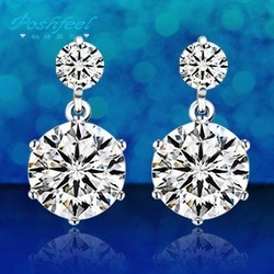 PF brand earrings hot sale female 925 sterling silver earring +double import AAA grade large create diamond silver earrings(China (Mainland))