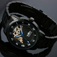 SG post or HK post 2013 High Class Steampunk Mechanical Skeleton Men's Stainless Steel Man's Gift Watch Free Shipping