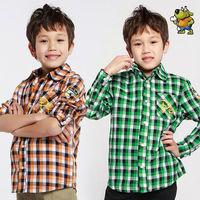 Wholesale 6pcs spring autumn green yellow plaid Children Child boy Kids baby long sleeve cotton shirt shirts clothing PECS03P33