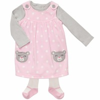 Carter's Cute Dot pattern (girls model) Long Sleeve 3pcs Romper Set, carters jumper skirt+jumpsuits+ pantistocking