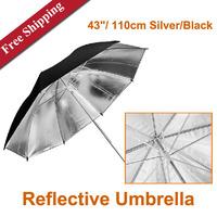 "Studio 43""/ 110cm Silver/Black Reflective Umbrella Single Layer Photographic Lightweight Umbrella"