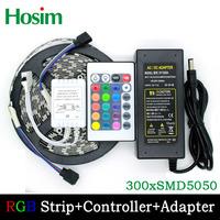 5M 60leds/M Non-Waterproof Flexible RGB 5050 Led Strip Light +24 Keys IR Remote controller +5A power adaptor