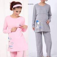 2014 Winter Clothing Nursing Shirt Long Pants Breast Feeding Tops Tees Pregnant Women Sleepwear Pajamas Maternity Clothes Autumn