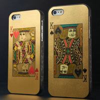 2 Pcs/lot Poker hard Case for iphone 5 5S 5g back cover bling playing cards, king queen joker , 5 Styles in red or black