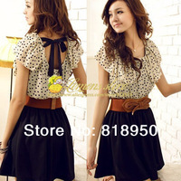 2013 New Arrivals Fashion Hot Korean Women's Fashion Summer Short Sleeve Chiffon Dots Polka Waist Top Mini Dress With Belt