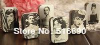 Promotion Free Shipping!12pcs/lot Audrey Hepburn painting series Mini Tin Box Retro Metal Jewelry Case Storage Case 6 styles