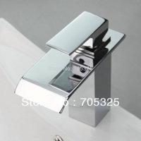 New Hot Waterfall Bathroom Basin Sink Chrome Brass Deck Mounted Single Handle Mixer Tap Faucet JN-0172