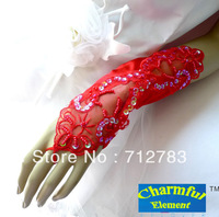Free Shipping 2014 New Bride Dress Red Lace Satin Long Design Elastic Wedding gloves for girls  Min Order $15
