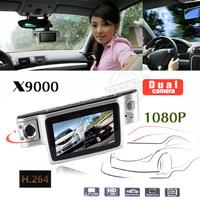 HOT selling !! HD 1080P Dual Lens Dashboard Car vehicle Camera Video Recorder x9000!! Free shipping