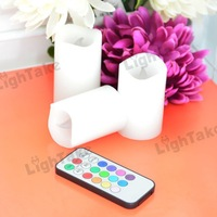 Wholesale 10Sets(30pcs)  Wax Battery Operated Remote Control Color-changing Led Candle Light  White