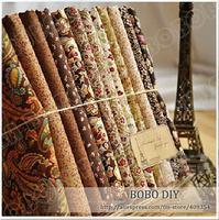 FREE SHIPPING 12piece 45x50cm royal brown cotton poplin fabric fat quarter bundle clothes bedding sewing cloth patchwork W3B1-1