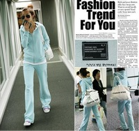 Nice Women Sport Suit Cotton Benlds Cartoon Style Active Lady's Suit Pur Color Zipper Open Hoodies (Pants+Clothes)