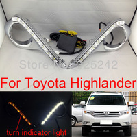 Excellent Plating Fog Light lamp For Toyota Highlander 2012,With LED Turn Indicator Light,uses for daytime running light LED DRL