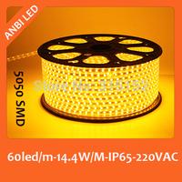 Free shipping 220V SMD LED flexible strip 50m,5050,60led/m,waterproof,IP65,warm white