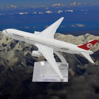 16CM  METAL B777 TURKEY AIRLINES  DIE CAST METAL BOEING COMMERCIAL PLANE MODEL LENGTH
