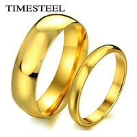 FTLR010 Fashion 18K Gold Plated Couple Rings Engagement Ring 316L Stainless Steel Simple & Plain Rings US Size 4-13