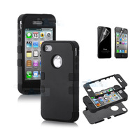 freee shipping Hybrid High Impact Case Cover for iPhone 4S 4 4G Black Silicone + Film B67-3