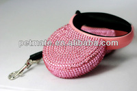 Small crystals retractable dog leash with rhinestone
