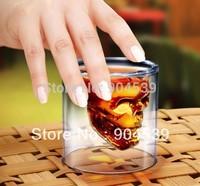 Free shipping 2pcs/lot 75ml Doomed Crystal Skull Shot Glass/Crystal Skull Head Vodka Shot Wine Glass creative gift for him
