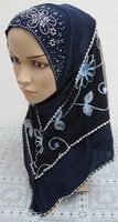 Wholesale New style embroidery ITY multicolors fashion double layer muslim Scarfs,islamic hijab with gauze Free Shipping