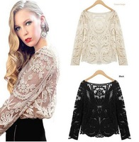 New 214 fashion tops for women blouses sexy sheer long sleeve embroidery blouse lace crochet shirt 9 colors blusas femininas